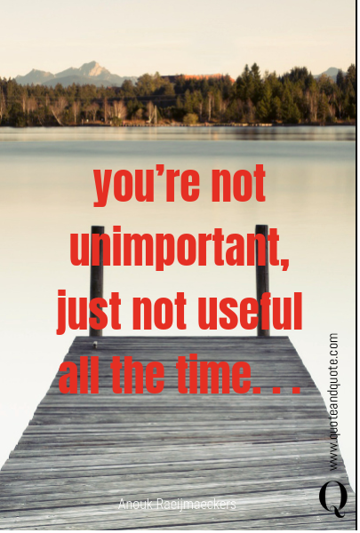 you're not unimportant,  just not useful all the time. . .