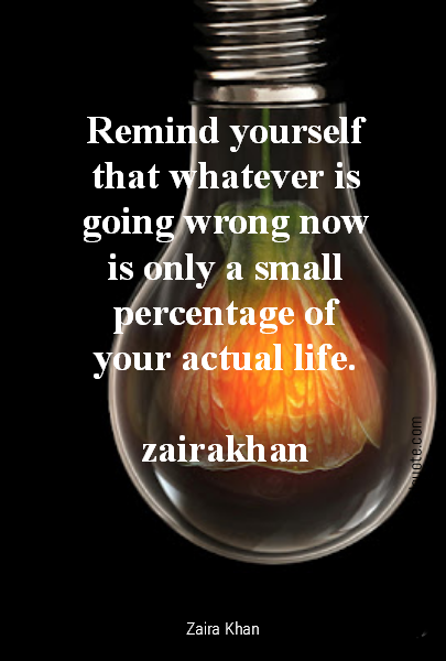Remind yourself that whatever is going wrong now is only a small percentage of your actual life.