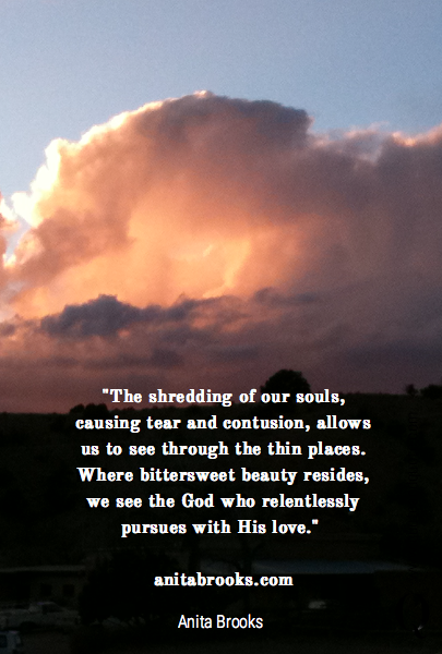 """The shredding of our souls, causing tear and contusion, allows us to see through the thin places. Where bittersweet beauty resides, we see the God who relentlessly pursues with His love."" 