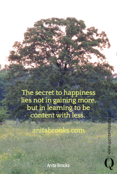 The secret to happiness lies not in gaining more, but in learning to be content with less. 