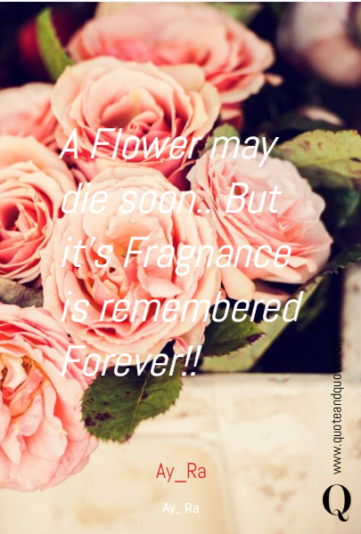 A Flower may die soon.. But it's Fragnance is remembered Forever!! Ay_Ra