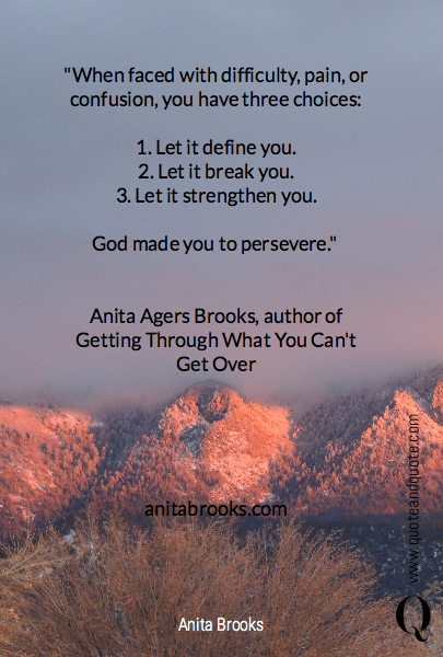 """When faced with difficulty, pain, or confusion, you have three choices: