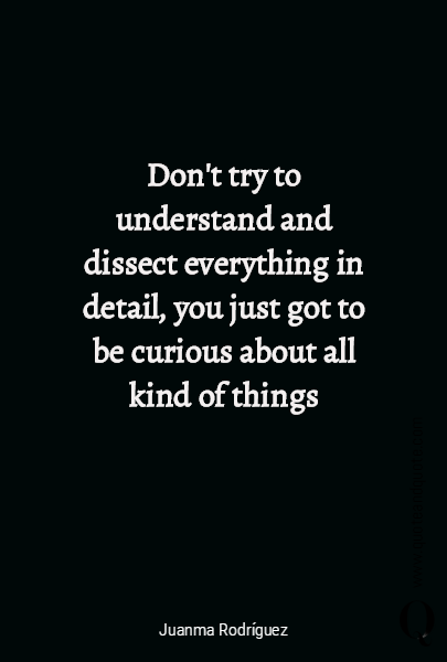 Don't try to understand  and dissect everything in detail, you just got to  be curious about all kind of things