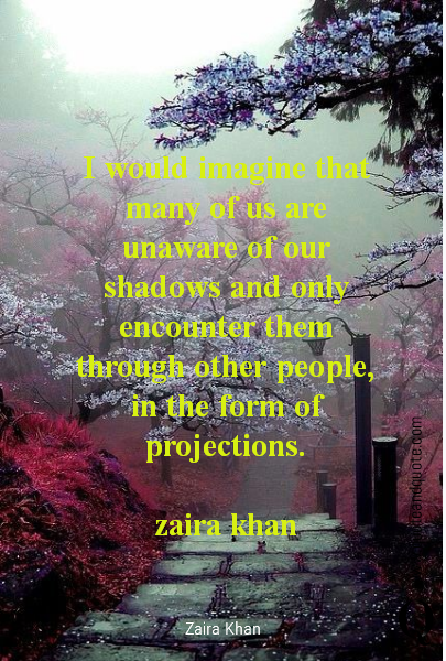 I would imagine that many of us are unaware of our shadows and only encounter them through other people, in the form of projections.