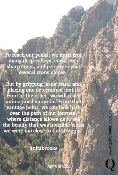 To reach our peaks, we must trod many deep valleys, crawl over sharp crags, and persevere past several stony slopes. 