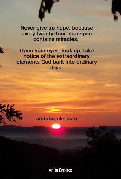 Never give up hope, because every twenty-four hour span contains miracles. 
