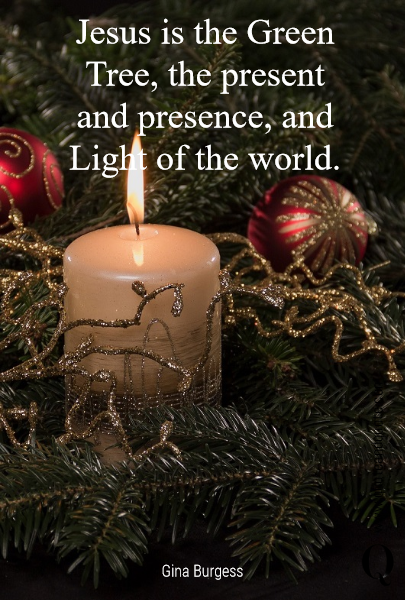 Jesus is the Green Tree, the present and presence, and  Light of the world.