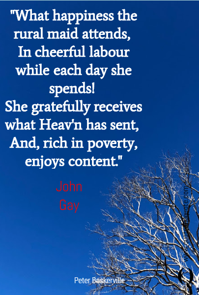 """What happiness the rural maid attends, 