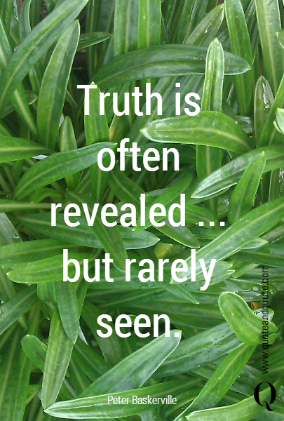 Truth is often revealed ... but rarely seen.