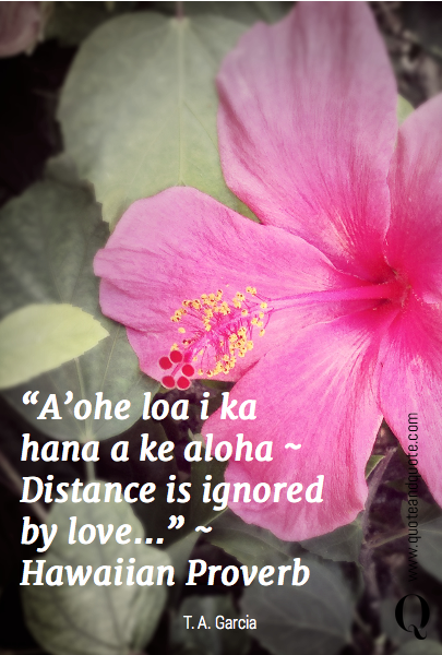 A\'ohe loa i ka hana a ke aloha ~ Distance is ignored by love ...